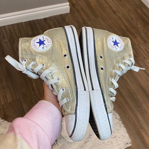 Converse Shoes   Girls Gold Glitter